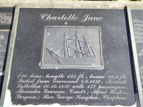 Charlotte Jane Plaque