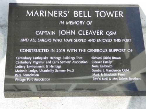 Bell tower plaque